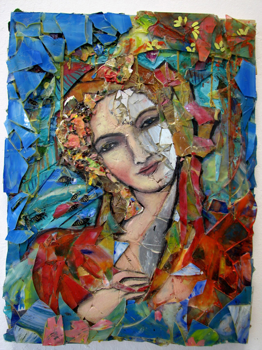 grace1 glass mirrors jewels resin oil on wood 18x 24
