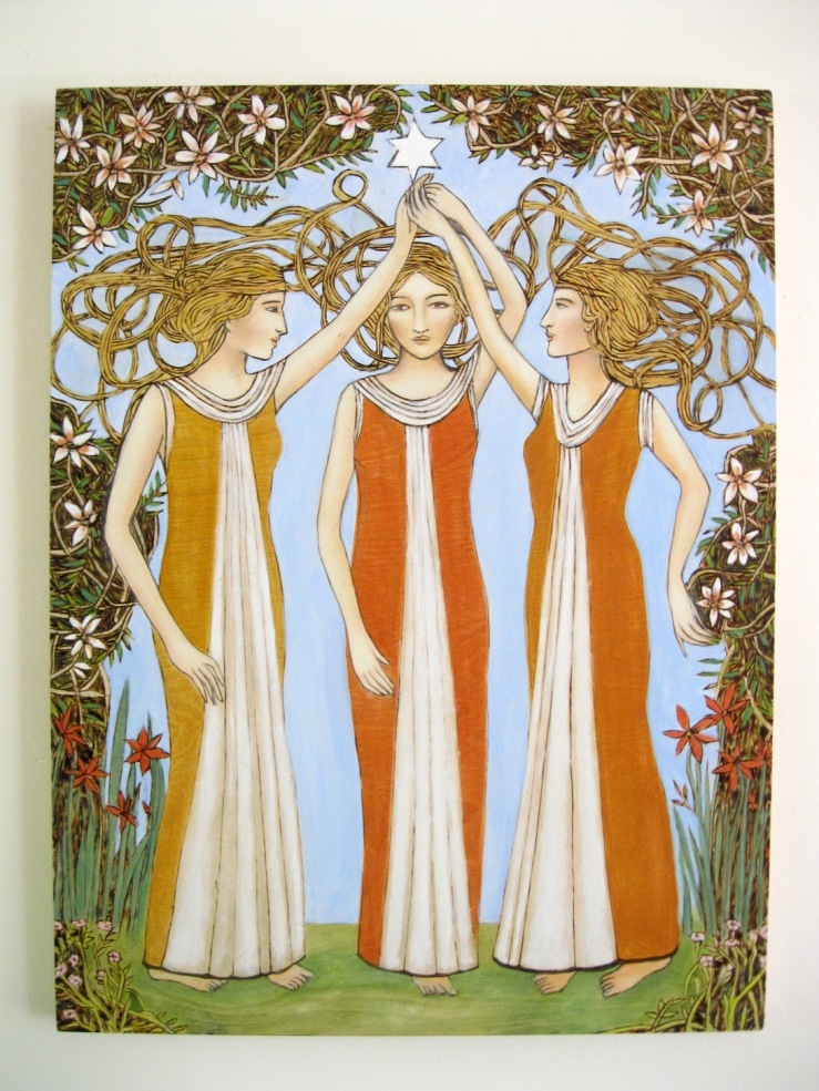 The Graces pyrography